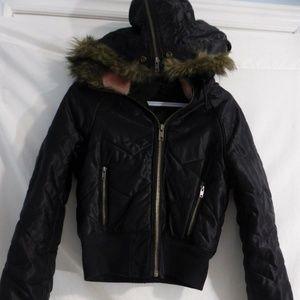 Guess black zip up jacket, fur trim, pink lining